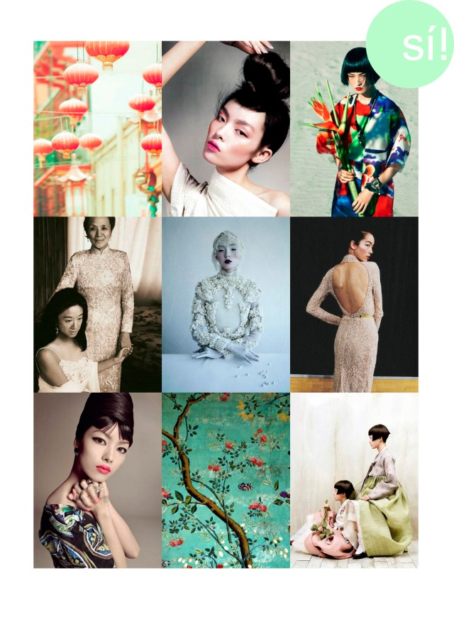 1. Desde Pinetrest  2. Vogue China   3. Wang Xiao by Mason Poole for L'Officiel   4. Vera Wang in her own design  5. Xiao Wen Ju in W March 2012 by Tim Walker  6. Elie Saab Haute Couture Fall 2012 Fei Fei Sun backstage at Elie Saab Haute Couture Fall 2012    7. Fei Fei Sun photographed by Steven Meisel for Vogue Italia, January 2013   8. Desde Pinterest   9. Desde PInterest