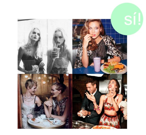 1. heels-and-other-drugs.tumblr.com, 2. Terry richardson, 3. models-eating.tumblr.com, 4. Vía Pinterest