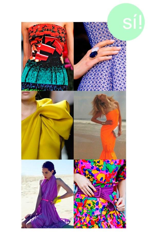 1. Mary Katrantzou, 2. Dior, 3. Lanvin, 4. alloftheneonlights.tumblr.com, 5. Vía Pinterest, 6. karlascloset.blogspot.com