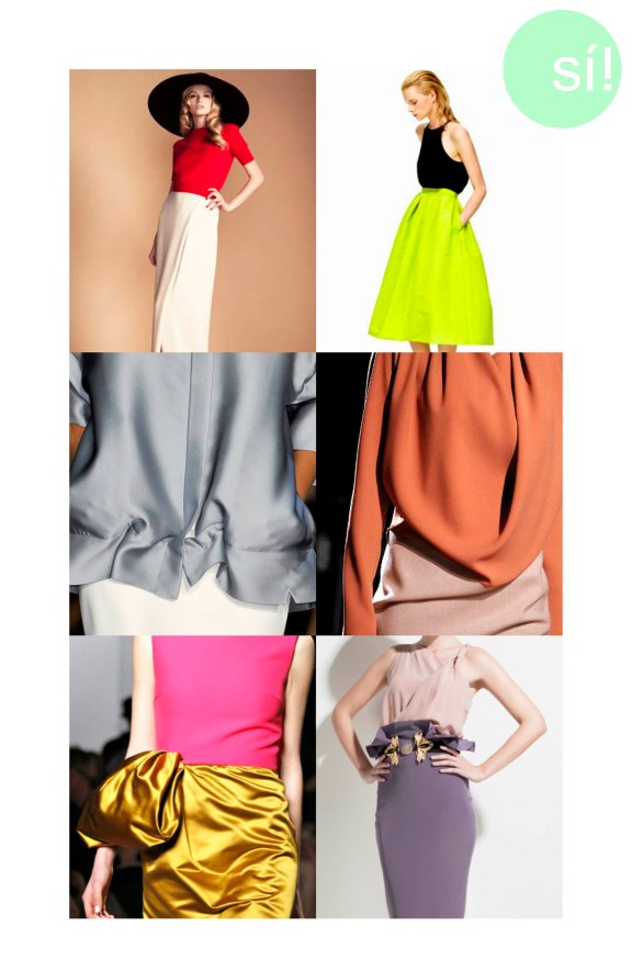 1. Temperley London, 2. Tibi, 3. Victoria Beckham, 4. Vía pinterest, 5. Giambattista Valli, 6. Colour Nude