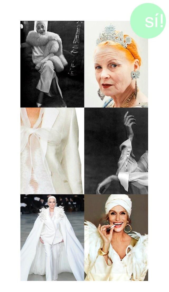 1. Madame Gres 2. Vivienne Westwood 3. Carolina Herrera 4. crochet.tumblr.com 5. Pinterest 6. Lauren Hutton