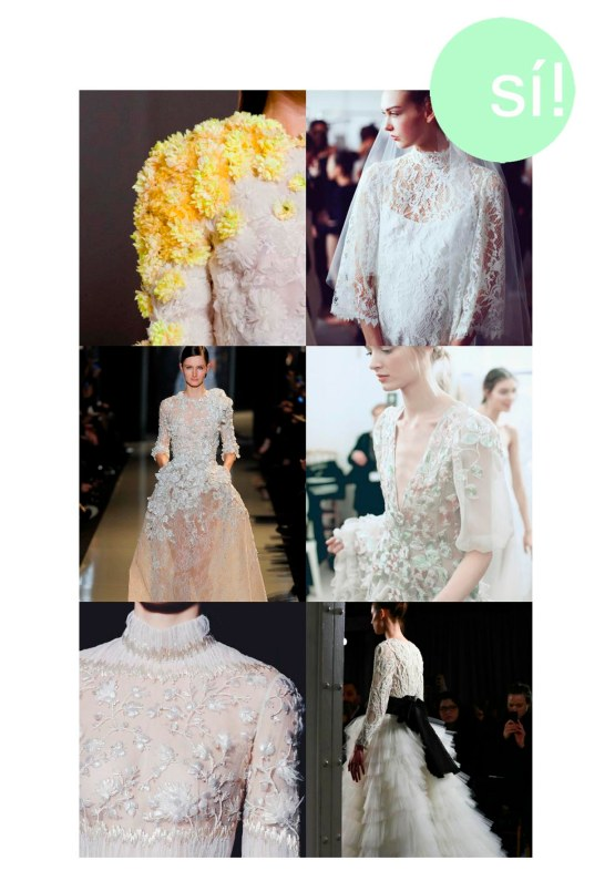 1. Giambattista Valli Fall 2013 Couture Details, 2. Marchesa Spring 2015, 3. Elie Saab Couture Spring Summer 2013, 4 y 5. Valentino Spring 2013 couture, 6. Marchesa spring 2015 bis
