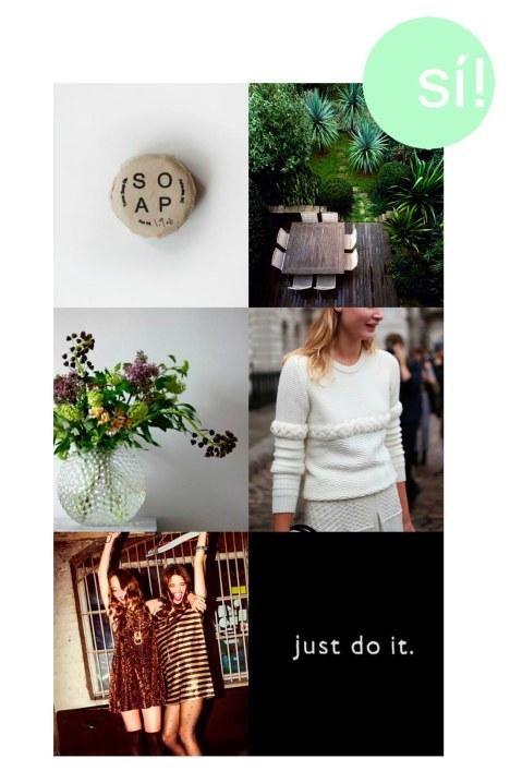 1. cisthene.com, 2. jardín myvibemylife.com, 3. lovelylife.se, 4. sterlingstylelove.tumblr.com, 5. Pinterest. 6. Nike