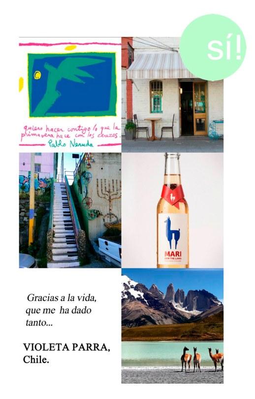 1. Fundación Pablo Neruda, 2. barrioitalia.cl, 3. Valparaíso, 4. whorange.net, 5. Violeta Parra, 6. Parque Nacional Torres del Paine