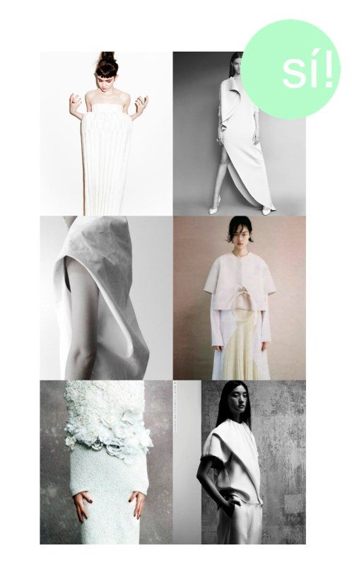1. Pinterest, 2. blissmist.tumblr.com, 3. Pinterest, 4. anabundanceof.tumblr.com, 5. Comme des Garçons, 6. Lina Zhang for Vogue China